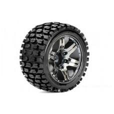 Roapex Stadium Truck 1:10 tyre TRACKER on Chrome Black wheels 12mm (2pcs)