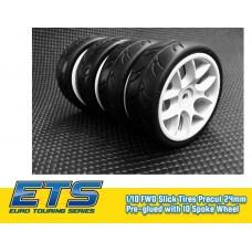 Ride 1/10 Slick Tires Precut 24mm Pre-glued for fronti