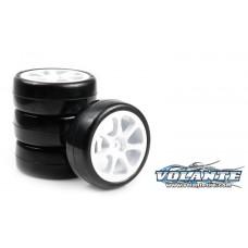 Volante V5 1/10 TC Indoor Carpet Rubber Tire Pre-glued 4pcs [Seven Spoke Wheel]